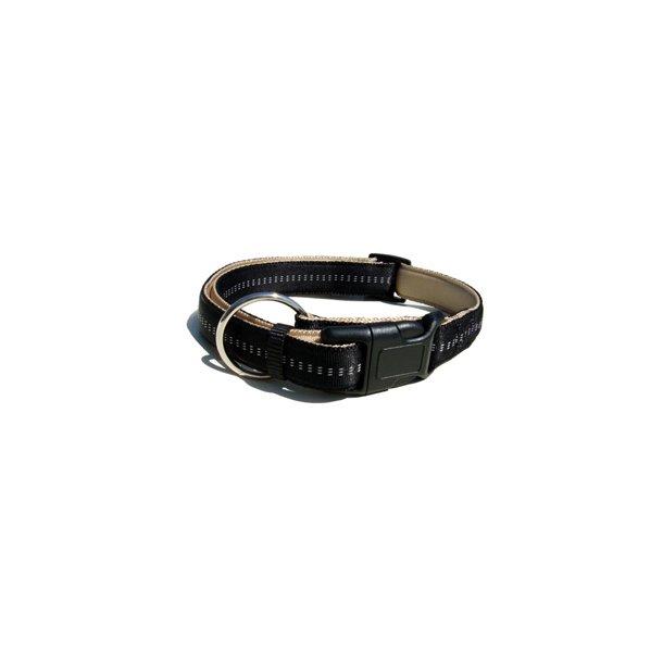 Blød Nylon Halsbånd Beige/Sort 1,5x30-45 cm