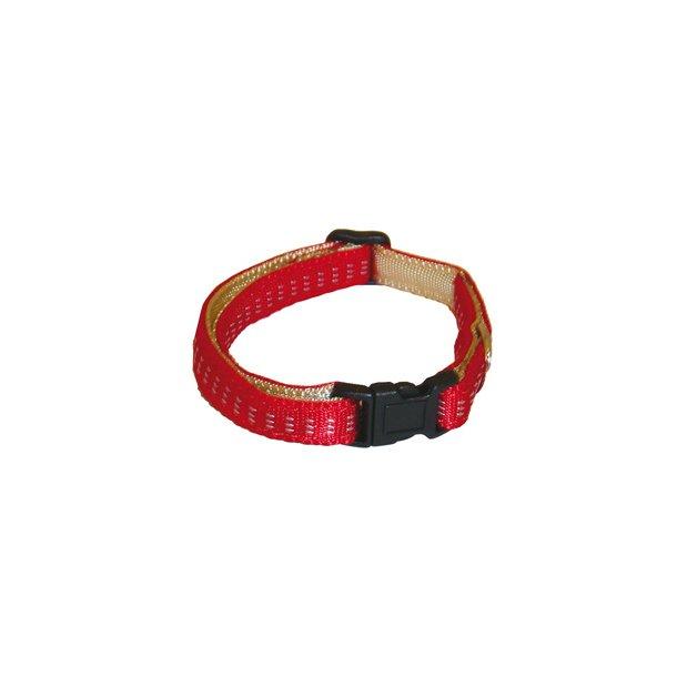 Blød Nylon Halsbånd Beige/Rød, 1,5x30-45 cm